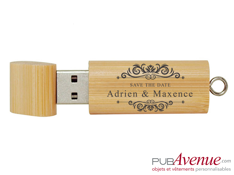 Clé USB personnalisée mariage bois