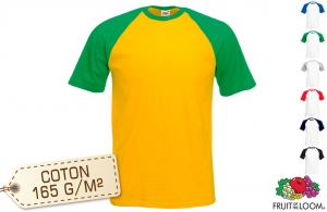 Tee-shirt baseball Fruit of the Loom 165 gr/m²