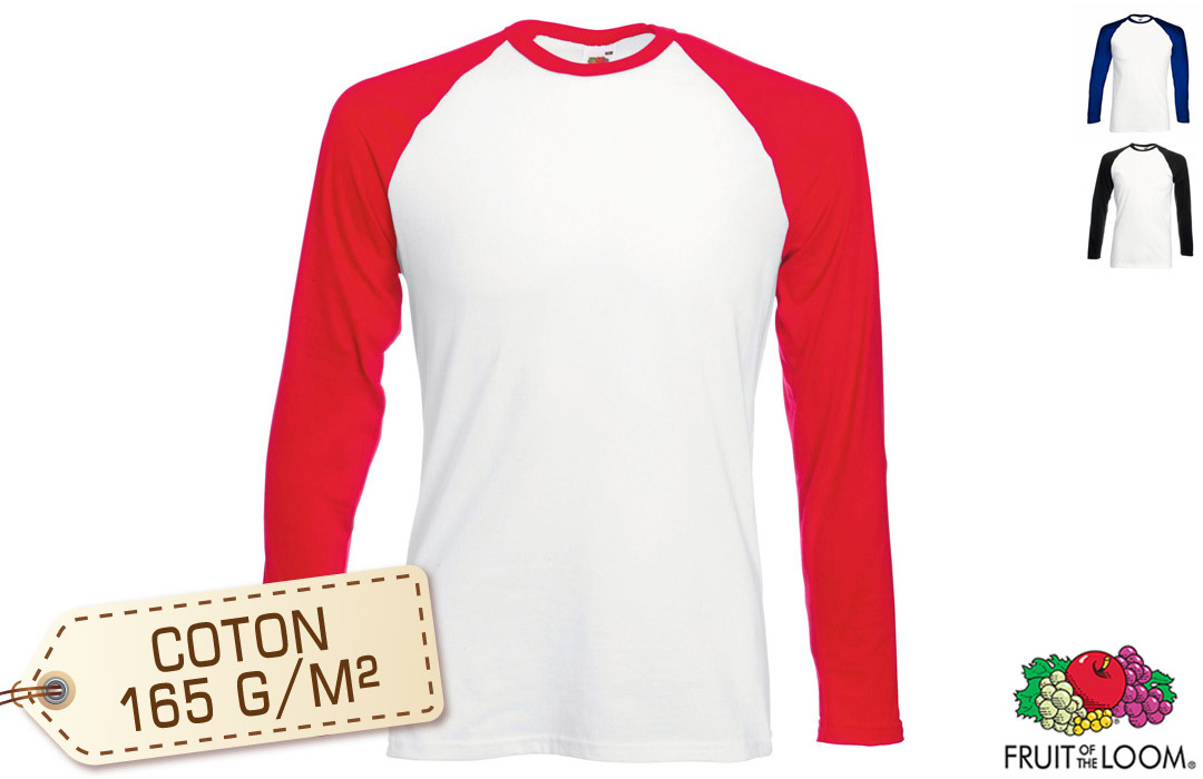 profiter de prix bas volume grand recherche d'officiel Tee-shirt Baseball manches longues Fruit of the Loom 165 gr/m²