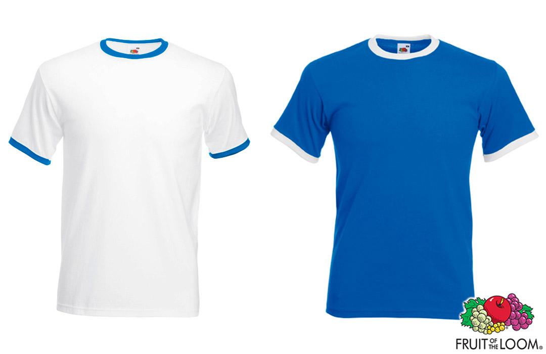 sélectionner pour le meilleur meilleur endroit pour nuances de Tee-shirt avec bords contrastés Fruit of the Loom 165 gr/m²