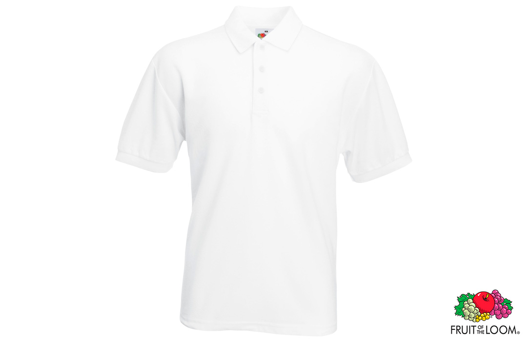 Polo publicitaire pas cher fruit of the loom blanc 180 g/m²