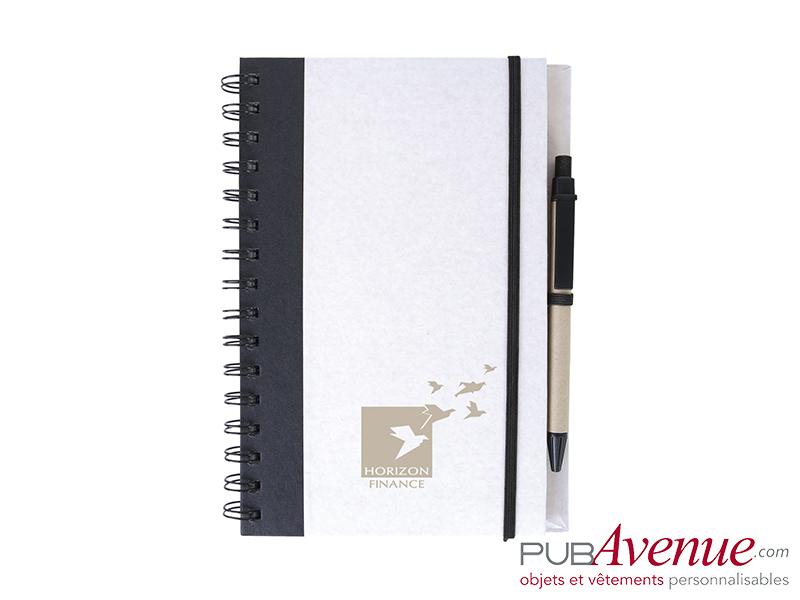 Bloc-notes et stylo personnalisé en express