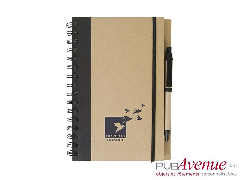 Bloc-notes et stylo personnalisable en express